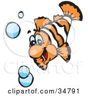 Clipart Illustration Of A Hyper White And Orange Swimming Anemone Fish With Bubbles