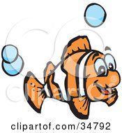Clipart Illustration Of An Excited Orange And White Anemone Fish Swimming With Blue Bubbles