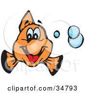 Clipart Illustration Of A Friendly Orange Clownfish Smiling And Facing Front With Blue Bubbles