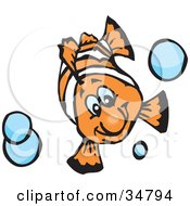 Clipart Illustration Of A Happy White And Orange Anemonefish Swimming With Blue Bubbles