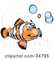 Clipart Illustration Of A Happy Orange And White Clownfish Swimming With Blue Bubbles