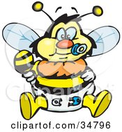 Clipart Illustration Of A Baby Bumble Bee Character In A Diaper Sucking On A Pacifier And Holding A Rattle