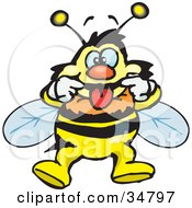 Clipart Illustration Of A Bumble Bee Character Pulling Back His Lips While Making A Funny Face