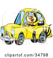 Clipart Illustration Of A Bumble Bee Character Waving While Driving By In A Matching Car
