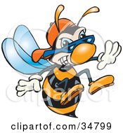 Black And Orange Hornet Wearing Shades And A Hat Thrusting His Stinger Forward