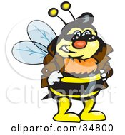 Clipart Illustration Of A Bumble Bee Character In A Leather Jacket Wearing Shades And Resting His Hands On His Hips