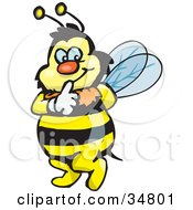Clipart Illustration Of A Bumble Bee Character Touching His Lips To Shush Someone While Tip Toeing