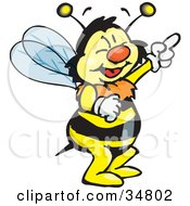 Clipart Illustration Of A Bumble Bee Character Laughing And Pointing Upwards
