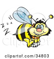 Clipart Illustration Of A Bumble Bee Character Buzzing Around While Flying