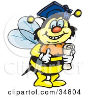 Clipart Illustration Of A Smart Bumble Bee Character Wearing A Graduation Cap And Holding A Diploma