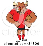 Clipart Illustration Of A Beefy Bull In Uniform Holding An American Football by Dennis Holmes Designs