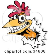 Clipart Illustration Of A Smiling Rooster With A Gold Tooth Breaking His Head Through A Wall