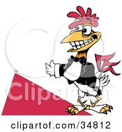 Friendly White Rooster With A Gold Tooth Wearing A Tux And Presenting A Red Carpet