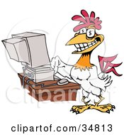Clipart Illustration Of A Grinning Rooster With A Golden Tooth And Dollar Sign Eyes Typing On A Computer by Dennis Holmes Designs