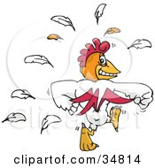 Clipart Illustration Of A Strong White Cock Walking Away And Flaunting His Muscles by Dennis Holmes Designs