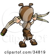 Clipart Illustration Of A Cute Little Brown Ant Character Reaching For A Blade Of Grass by dero