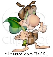 Clipart Illustration Of A Cute Brown Ant Character Carrying A Leaf And Giving The Thumbs Up