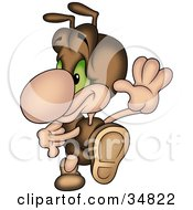 Clipart Illustration Of A Cute Brown Ant Character Swinging His Arms While Dancing Or Running by dero