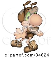 Clipart Illustration Of A Scared Brown Ant Character