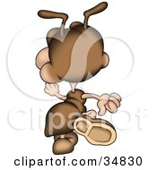 Clipart Illustration Of A Cute Brown Ant Character Walking Away by dero