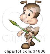 Clipart Illustration Of A Cute Little Brown Ant Character Walking With A Spear by dero