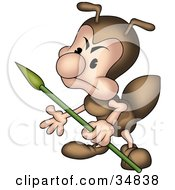 Clipart Illustration Of A Mad Little Brown Ant Character Guarding With A Spear by dero