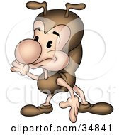 Clipart Illustration Of A Cute Little Brown Ant Character Gesturing And Pointing Down by dero