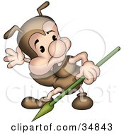Clipart Illustration Of A Cute Little Brown Ant Character With A Spear Looking Off To The Side by dero