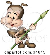Clipart Illustration Of A Cute Little Brown Ant Character Watching His Surroundings And Holding A Spear by dero