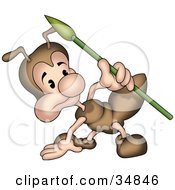 Clipart Illustration Of A Cute Little Brown Ant Character With A Spear Crouching And Looking At Something by dero