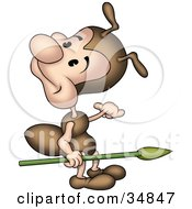 Clipart Illustration Of A Cute Little Brown Ant Character Carrying A Spear And Looking Back by dero