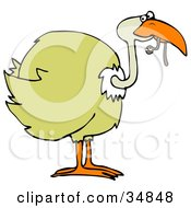 Clipart Illustration Of A Yellow Bird Holding A Cute Worm In Its Beak by Dennis Cox