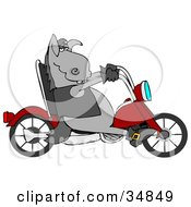 Clipart Illustration Of A Cool Donkey Biker Riding A Red Motorcycle by Dennis Cox