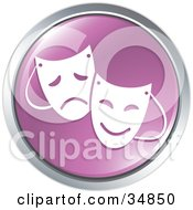 Clipart Illustration Of Emotional Drama Masks On A Purple Website Button by Alexia Lougiaki #COLLC34850-0043