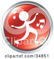 Clipart Illustration Of A Person Dancing To Music On A Red Website Button by Alexia Lougiaki