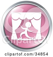 Dramatic Actor Kneeling During A Play On A Pink Website Button