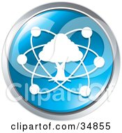 Clipart Illustration Of Atoms Circling A Tree On A Blue Website Button by Alexia Lougiaki