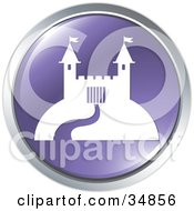 Path Leading To A Castle On A Purple Website Button