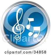 Clipart Illustration Of Three Music Notes On A Blue Website Button