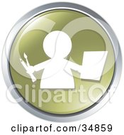 Clipart Illustration Of A Painter Carrying Paper And Paintbrushes On A Green Website Button by Alexia Lougiaki