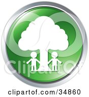 Clipart Illustration Of Two People Outside Under A Tree On A Green Website Button by Alexia Lougiaki #COLLC34860-0043