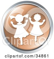 Clipart Illustration Of Two Happy Dancing Children On A Brown Website Button by Alexia Lougiaki