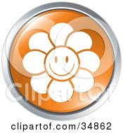 Clipart Illustration Of A Happy Smiling Flower On An Orange Website Button by Alexia Lougiaki