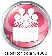 Clipart Illustration Of A Choir With A Music Book Or People Reading A Bible On A Pink Website Button by Alexia Lougiaki #COLLC34863-0043