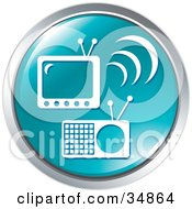 Clipart Illustration Of A Radio And TV On A Blue Website Button
