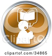 Clipart Illustration Of A Person Thinking Of A Book On A Brown Website Button by Alexia Lougiaki