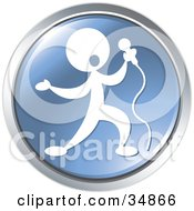 Clipart Illustration Of A Singer Performing At A Concert On A Blue Website Button by Alexia Lougiaki