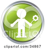 Clipart Illustration Of A Person Carrying A Flower On A Green Website Button by Alexia Lougiaki