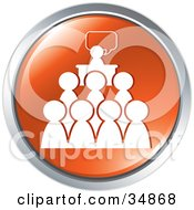 Clipart Illustration Of People Attending A Speech Or Seminar On An Orange Website Button