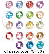 Clipart Illustration Of A Set Of Colorful Entertainment And Business Buttons by Alexia Lougiaki #COLLC34869-0043